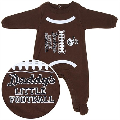 Daddy's Little Football Cotton Footie for Baby Boys