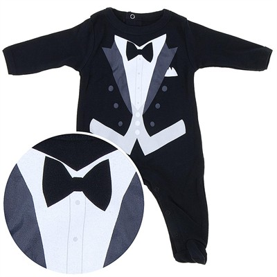 Tuxedo Cotton Footie for Baby Boys