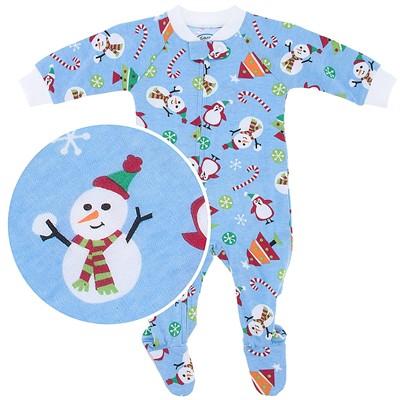 Sara's Prints Blue Snowman Footie for Baby Boys