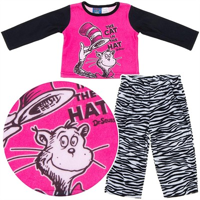 Cat in the Hat Zebra Striped Fleece Pajamas for Baby Girls