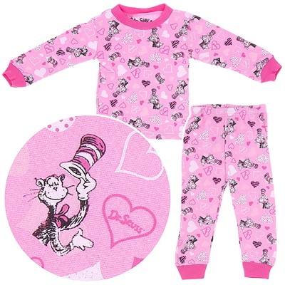 Cat in the Hat Pink Cotton Pajamas for Baby and Toddler Girls