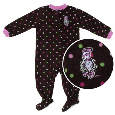Cat in the Hat Brown Polka Dot Footed Pajamas for Toddler Girls