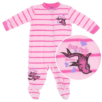One Fish Two Fish Pink Footed Pajamas for Infant Girls