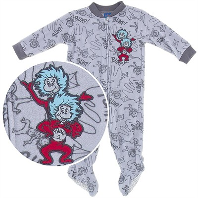 Thing One and Thing Two Footed Pajamas for Baby Boys
