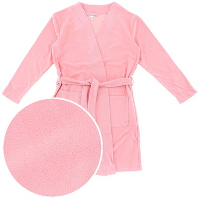 Apricot Short Fleece Bath Robe for Women
