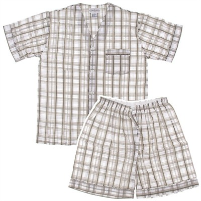 Large Gray Plaid Short Pajamas for Men