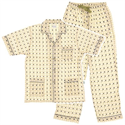 Beige Broadcloth Short Sleeved Pajamas for Men
