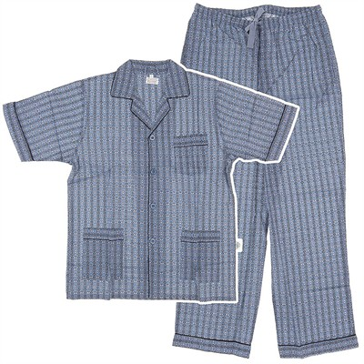 Dark Blue Broadcloth Short Sleeved Pajamas for Men