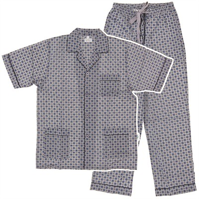 Gray Broadcloth Short Sleeved Pajamas for Men