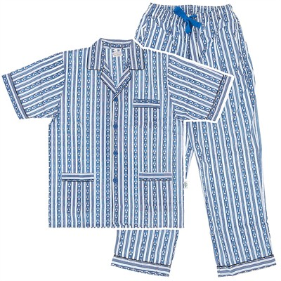 Light Blue Striped Broadcloth Short Sleeved Pajamas for Men