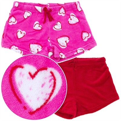 Heart Plush Set of Two Sleep Shorts for Juniors