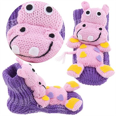 Pink Hippo Slipper Socks for Kids