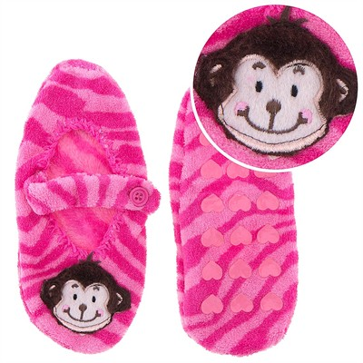 Pink Monkey Mary Jane Slipper Socks for Girls