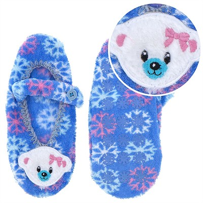 Polar Bear and Snowflake Mary Jane Slipper Socks for Girls