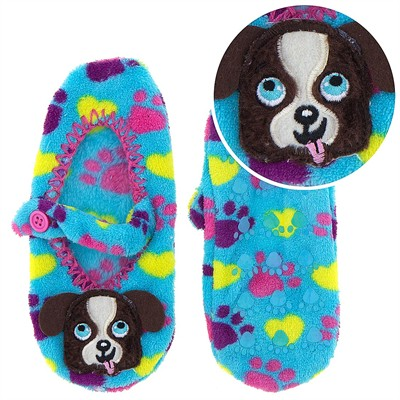 Turquoise Dog Mary Jane Slipper Socks for Girls