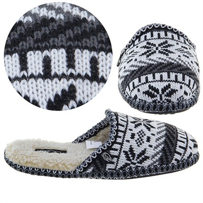 Black Fairisle Slip On Slippers for Women