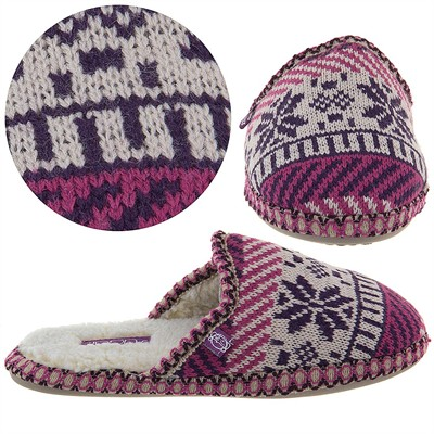 Pink Fairisle Slip On Slippers for Women