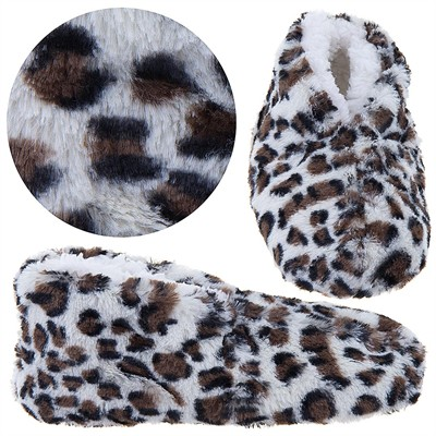 Snuggle Feet Brown Leopard Slippers for Women