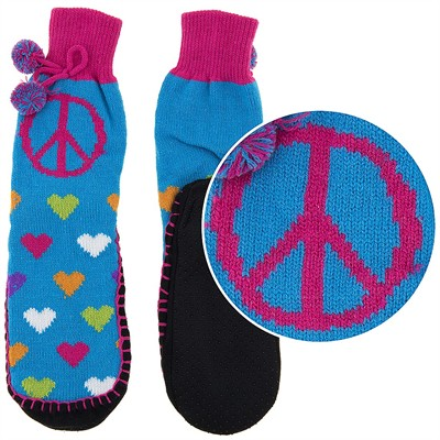 Snuggle Feet Heart Knitted Slipper Socks for Women