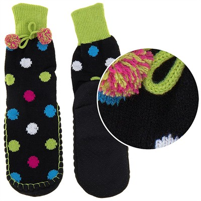 Snuggle Feet Polka Dot Knitted Slipper Socks for Women