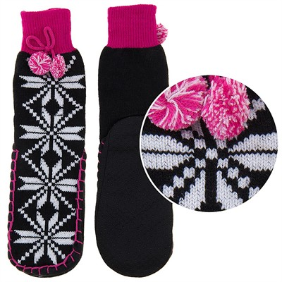 Snuggle Feet Snowflake Knitted Slipper Socks for Women