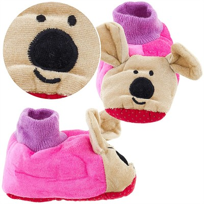 Pink Bear Sock Top Slippers for Toddlers