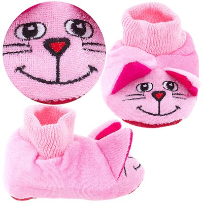 Pink Cat Sock Top Slippers for Toddlers