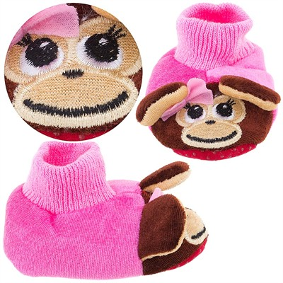 Pink Monkey Sock Top Slippers for Toddlers