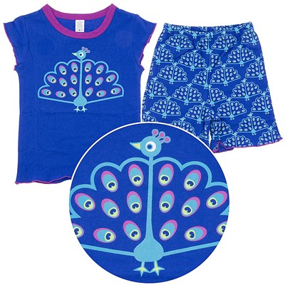 Sozo Peacock Cotton Shorty Pajamas for Toddler Girls