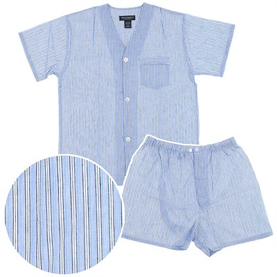 State O Maine Blue Striped Short Pajamas for Big Men