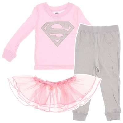 Supergirl Cotton Pajamas with Tutu for Toddler Girls