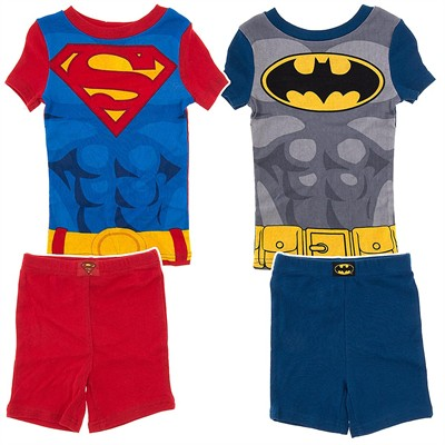 Batman and Superman Short Set of Two Cotton Pajamas for Boys