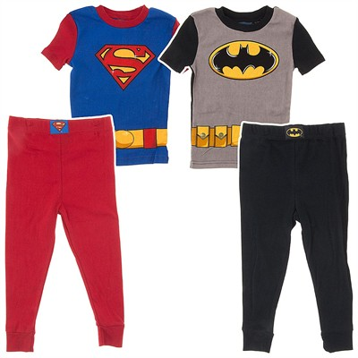 Batman and Superman Set of Two Cotton Pajamas for Boys