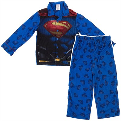 Superman Logo Coat-Style Pajamas for Boys