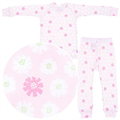 Sweet Potatoes Pink Floral Cotton Pajamas for Toddlers and Girls