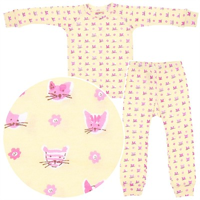 Sweet Potatoes Kitty Cotton Pajamas for Toddlers and Girls