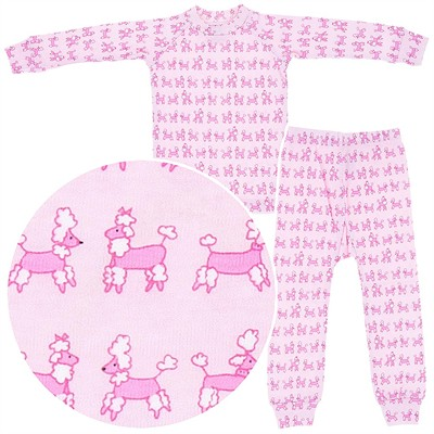 Sweet Potatoes Pink Poodle Cotton Pajamas for Toddlers and Girls