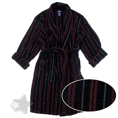 Red and Black Striped Terry Velour Bath Robe for Men