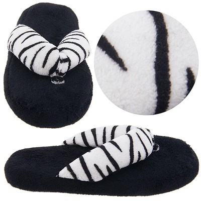 Black and White Zebra Thong Slippers for Women