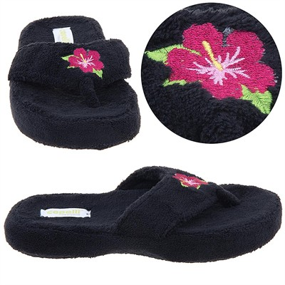 Black Floral Thong Style Slippers for Women