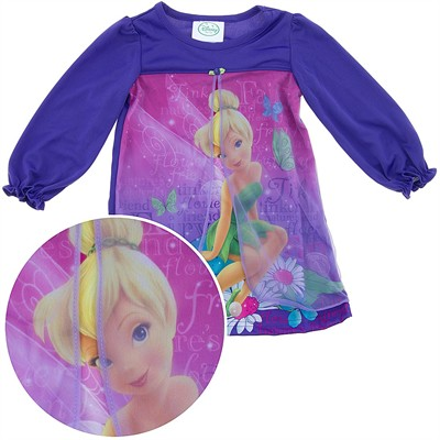 Tinker Bell Purple Nightgown with Overlay for Toddler Girls