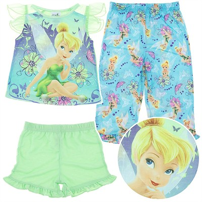 Tinker Bell Green Three Piece Pajama Set for Toddlers