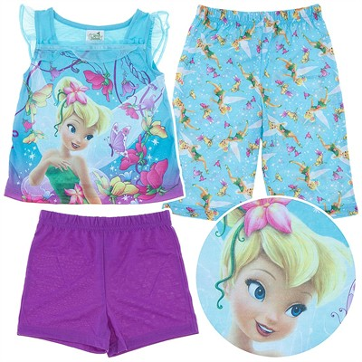 Tinker Bell Purple Three Piece Pajama Set for Toddlers