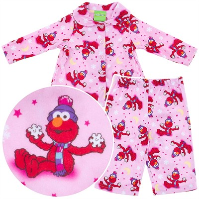 Elmo Pink Coat-Style Pajamas for Toddler Girls