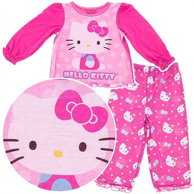Hello Kitty Dark Pink Pajamas for Toddler Girls