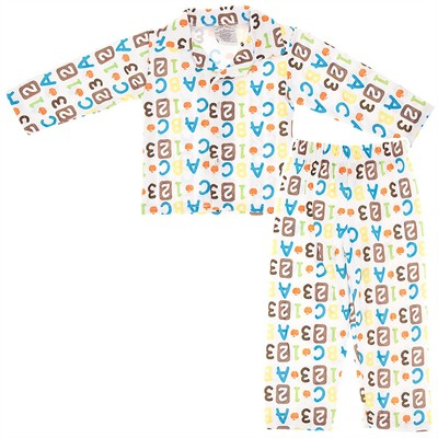 White ABC Pajamas for Toddlers and Boys