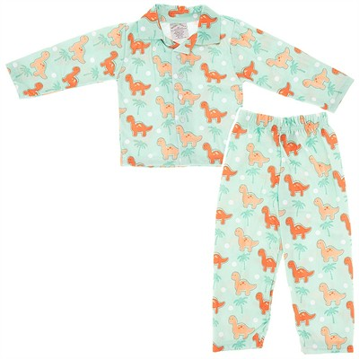 Green Dinosaur Pajamas for Toddlers and Boys