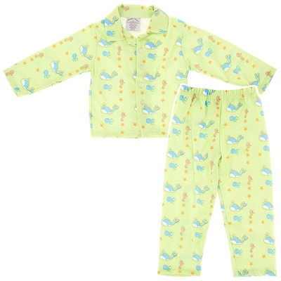 Green Whale Pajamas for Toddlers and Boys