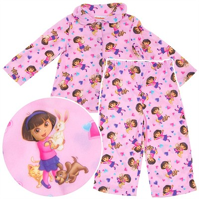 Dora the Explorer Pink Animals Coat-Style Pajamas for Toddler Girls
