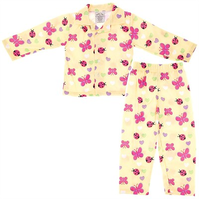 Yellow Butterfly Pajamas for Toddlers and Girls